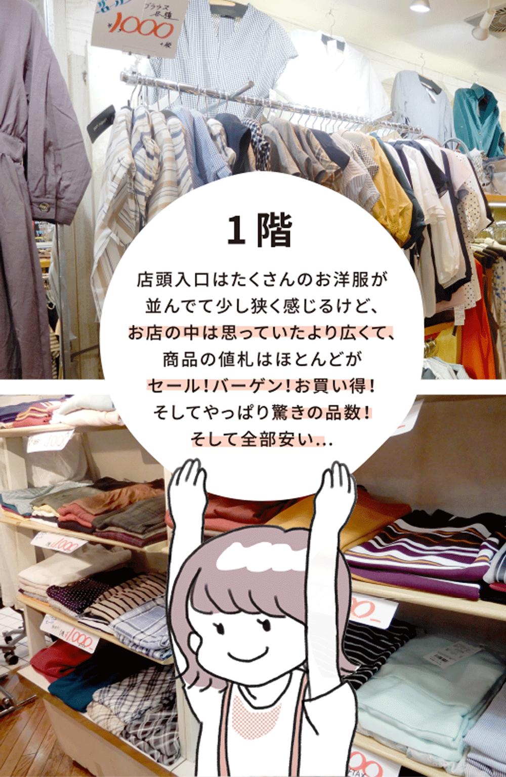 1階 店頭入口はたくさんのお洋服が 並んでて少し狭く感じるけど、お店の中は思っていたより広くて、商品の値札はほとんどがセール!バーゲン!お買い得!そしてやっぱり驚きの品数!そして全部安い…