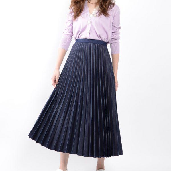 SKIRT:デニムプリーツスカート