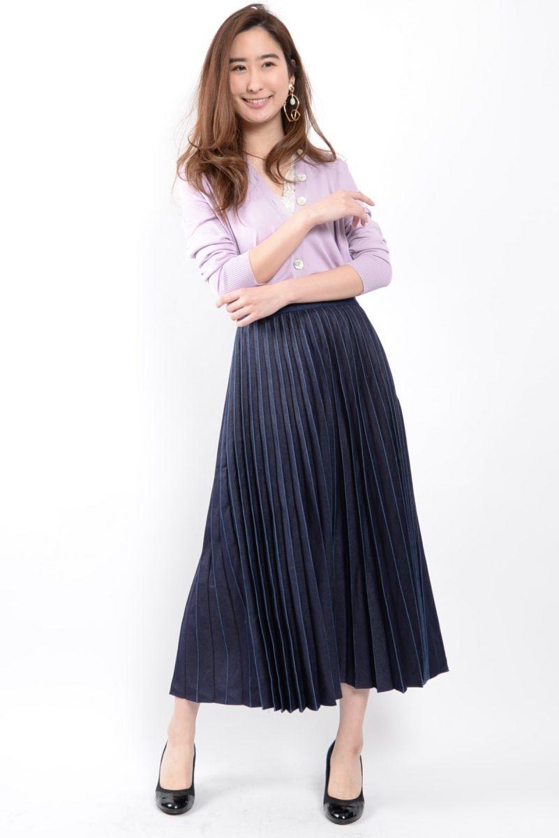 :デニムプリーツスカート