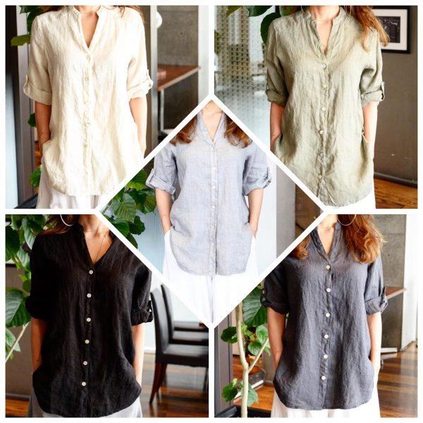 BLOUSE:ノーカラーリネンシャツ