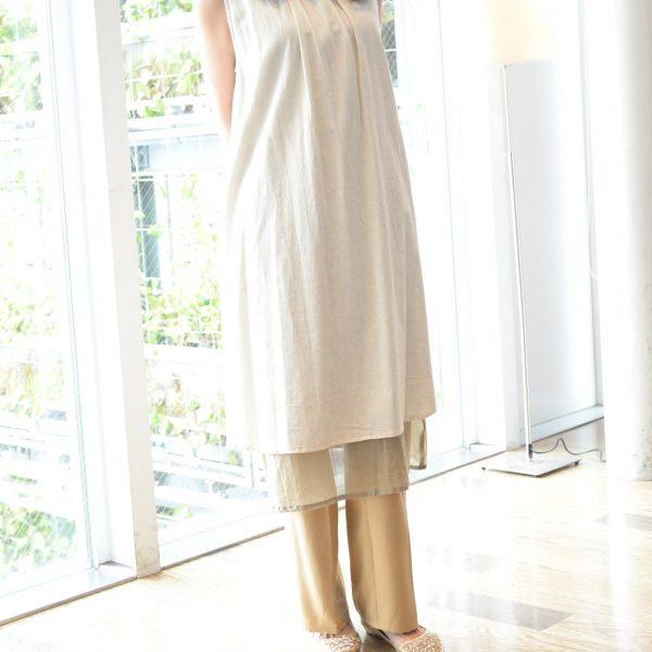 TOPS:綿×麻ノースリーブワンピ