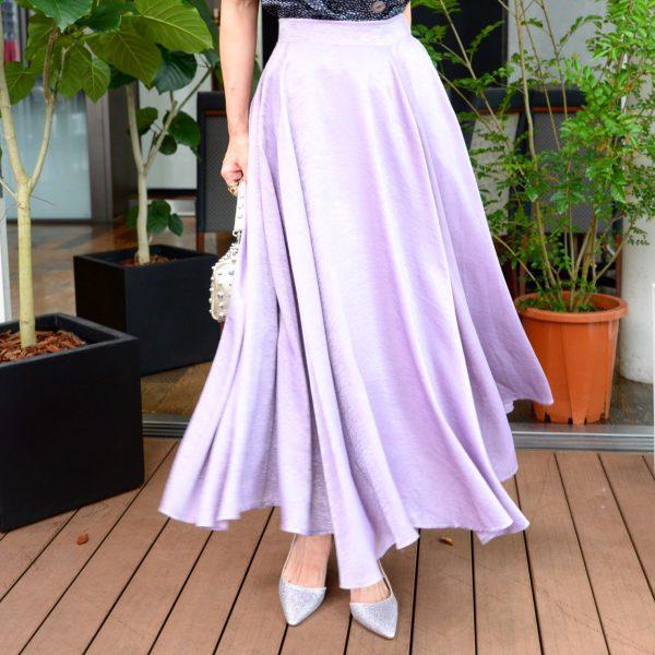 SKIRT:サテンロングスカート