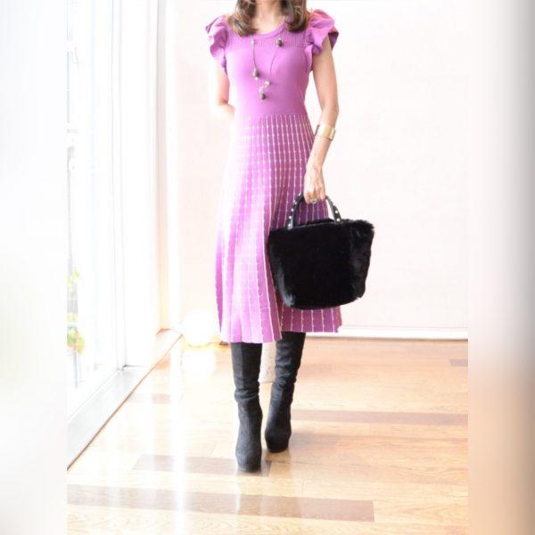 DRESS:袖フリルニットワンピース